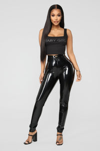 Baby Girl Rhinestone Crop Top - Black