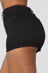 Close In Age High Rise Shorts - Black Angle 3