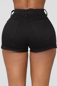 Close In Age High Rise Shorts - Black Angle 5
