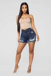 Another Day In Paradise High Rise Shorts - Dark Denim