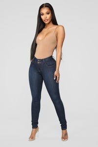 Classic Double Button Skinny Jeans - Dark Denim