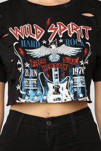 Hard Rock Crop Top - Black