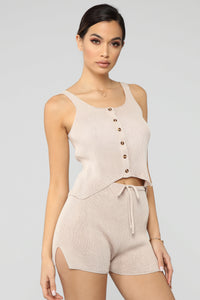 Casual Flow Short Set - Taupe
