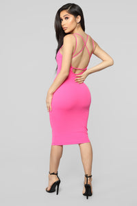 Never Texted Back Midi Dress - Hot Pink