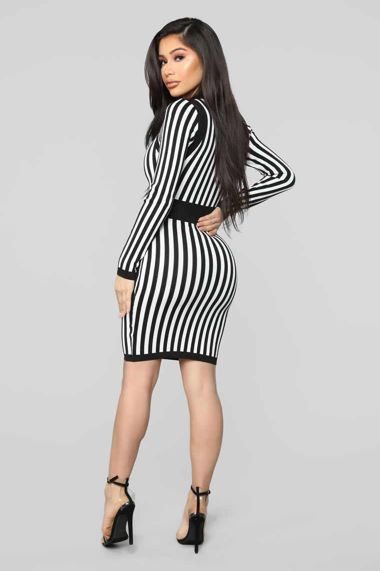 Timeless Striped Sweater Dress - Black/White
