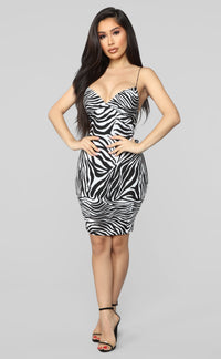 Very Exotic Zebra Mini Dress - Black/White