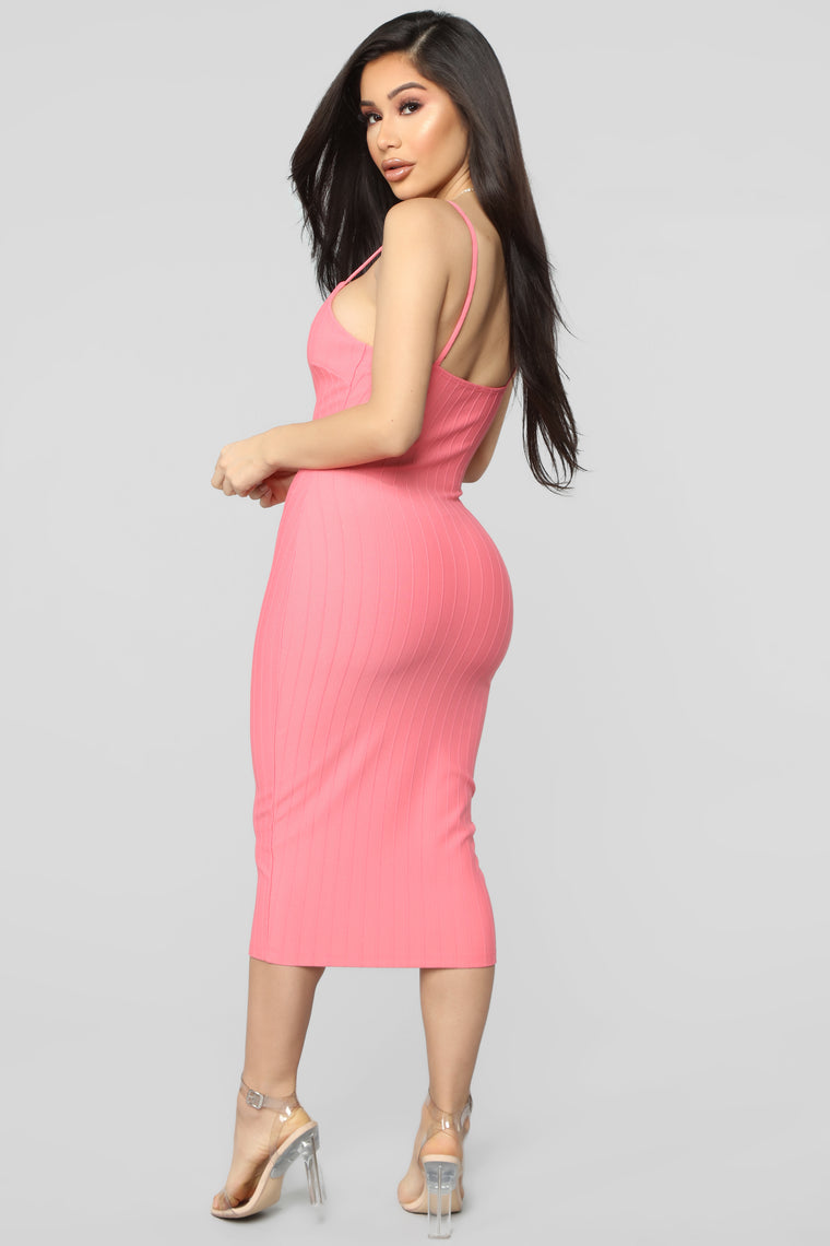 Never Follow Rules Midi Dress - Coral