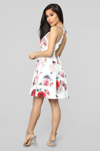Fabulously Flora Flare Mini Dress - White/Combo