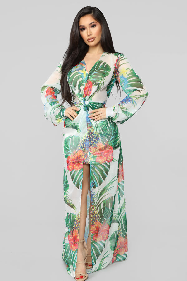 1ffbdadc2cdc Feeling Of Bliss Tropical Maxi Dress - White combo