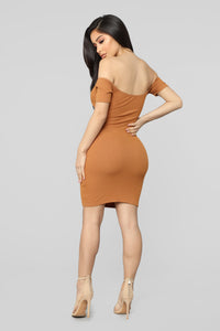 Do Knot Cut Me Off Mini Dress - Cognac