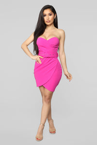 Giving In To You Tube Mini Dress - Fuchsia