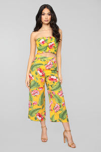 Kailua Tropical Print Set - Mustard