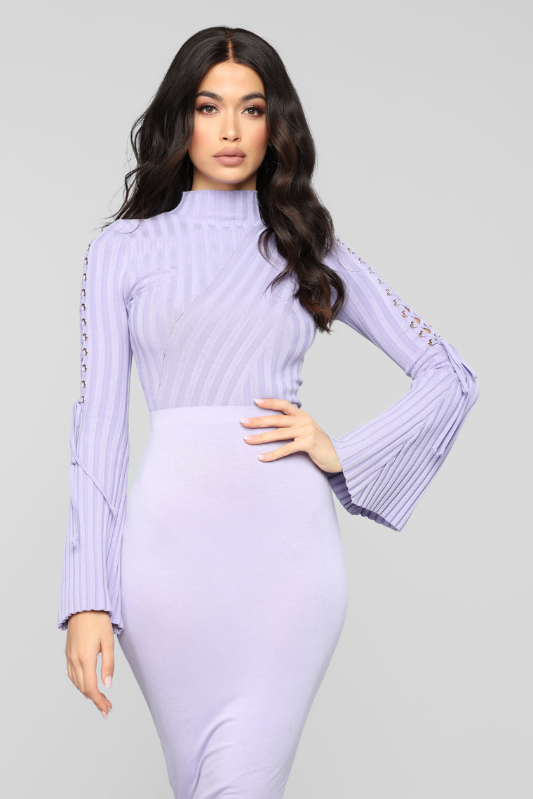 Next To Me Mock Neck Sweater - Lavender