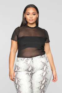 On My Time Mesh Top - Black Angle 7