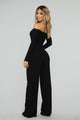 Jacklyn Off Shoulder Jumpsuit - Black
