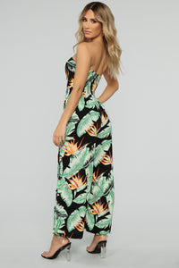 Tina Tropical Jumpsuit - Black Combo