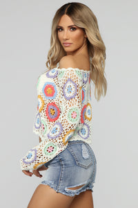 Floral Crochet Top - White Combo