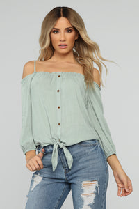 I'm So Knot In The Mood Top - Sage