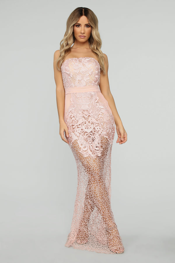 1ae081147b09 Call Me Pretty Crochet Maxi Dress - Blush