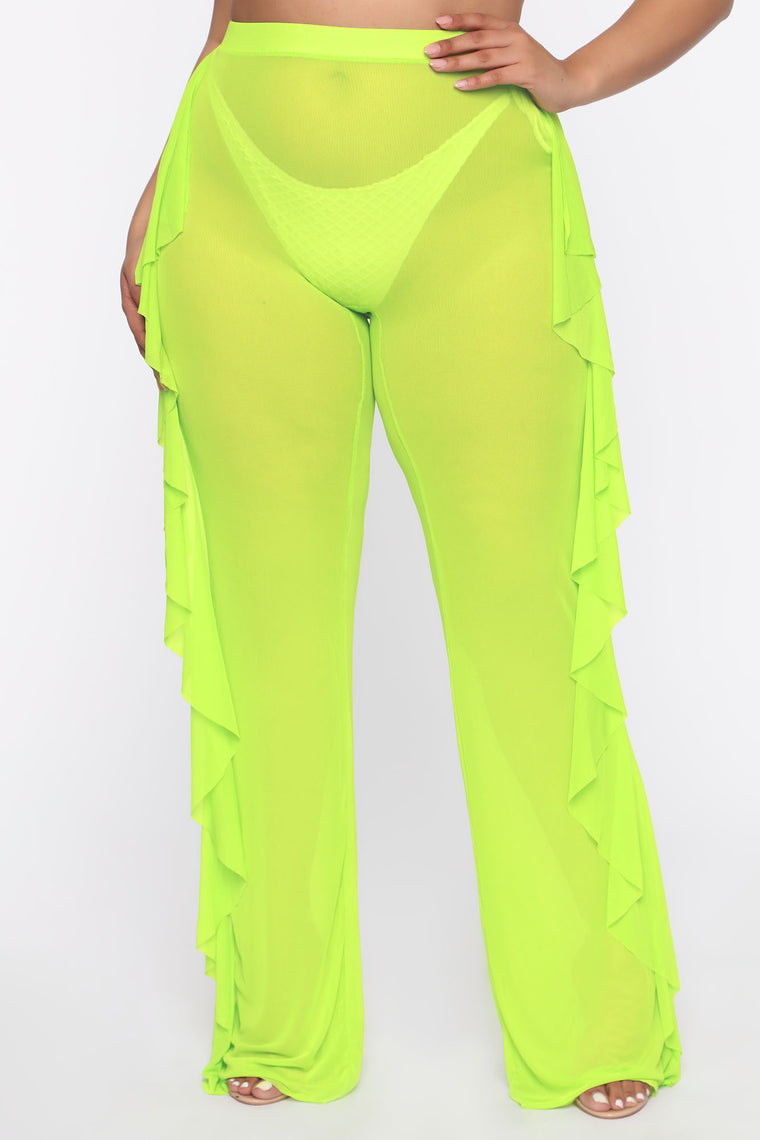 Sunshine See Through Cover Up Pant - Lime