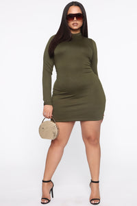 Strolling Around Town Mini Dress - Olive Angle 6