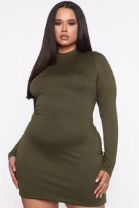 Strolling Around Town Mini Dress - Olive Angle 8
