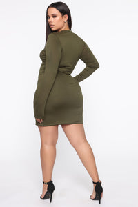 Strolling Around Town Mini Dress - Olive Angle 7
