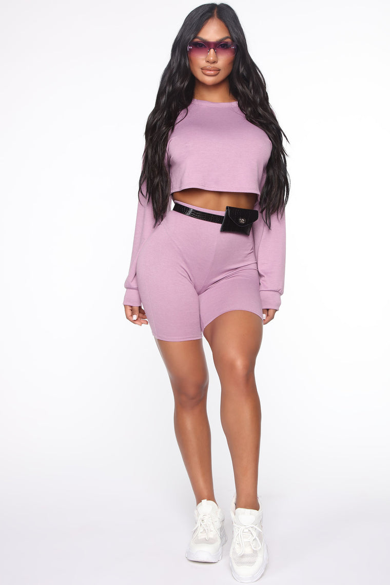 Cool Down Biker Short Set - Purple