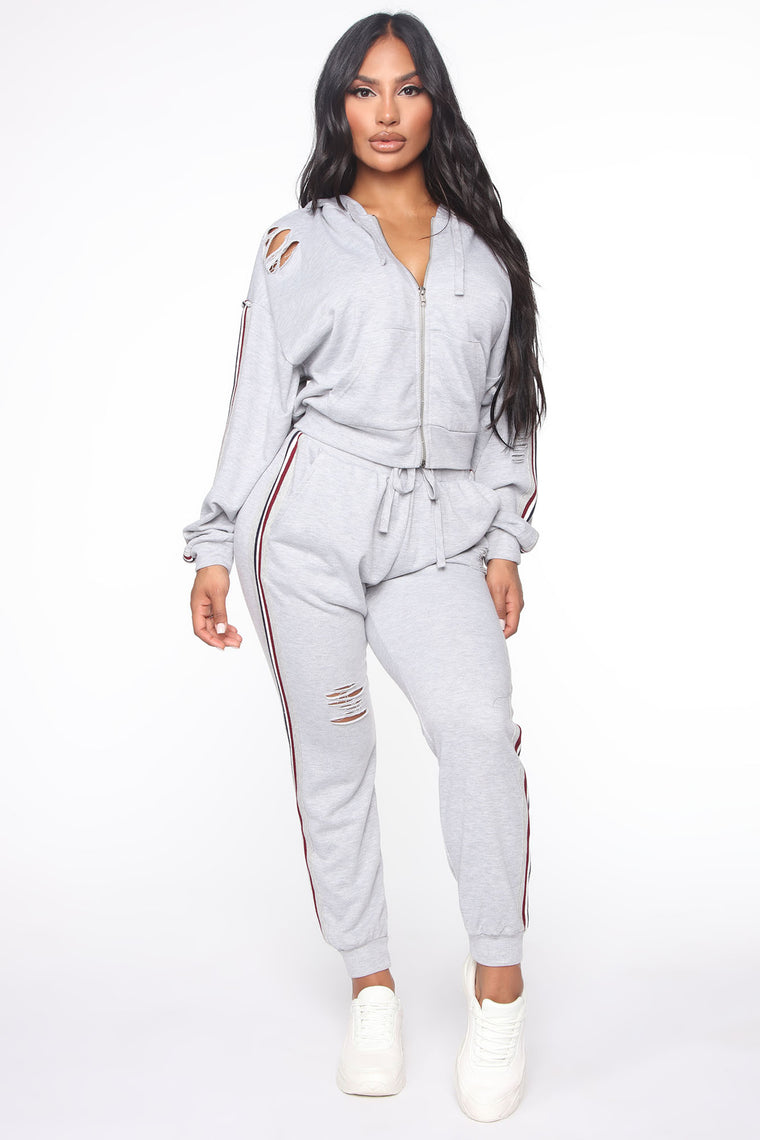 What I Know Now Distressed Jogger Set - Grey