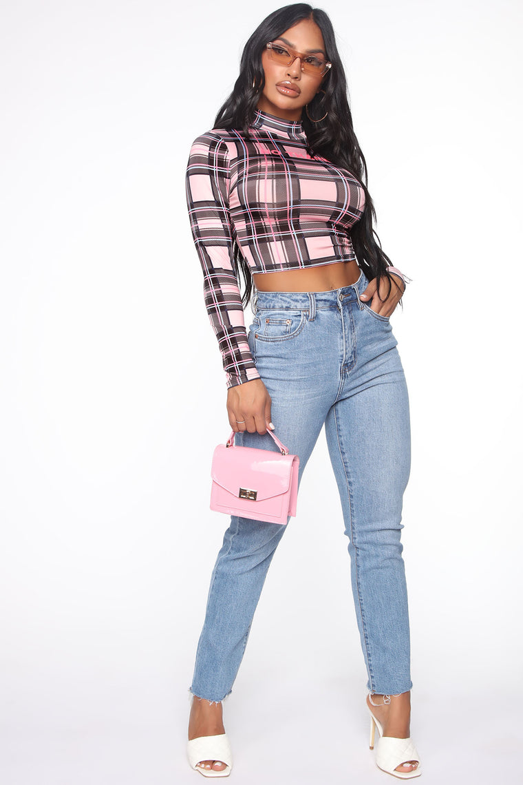A No No Plaid Top - Pink/combo