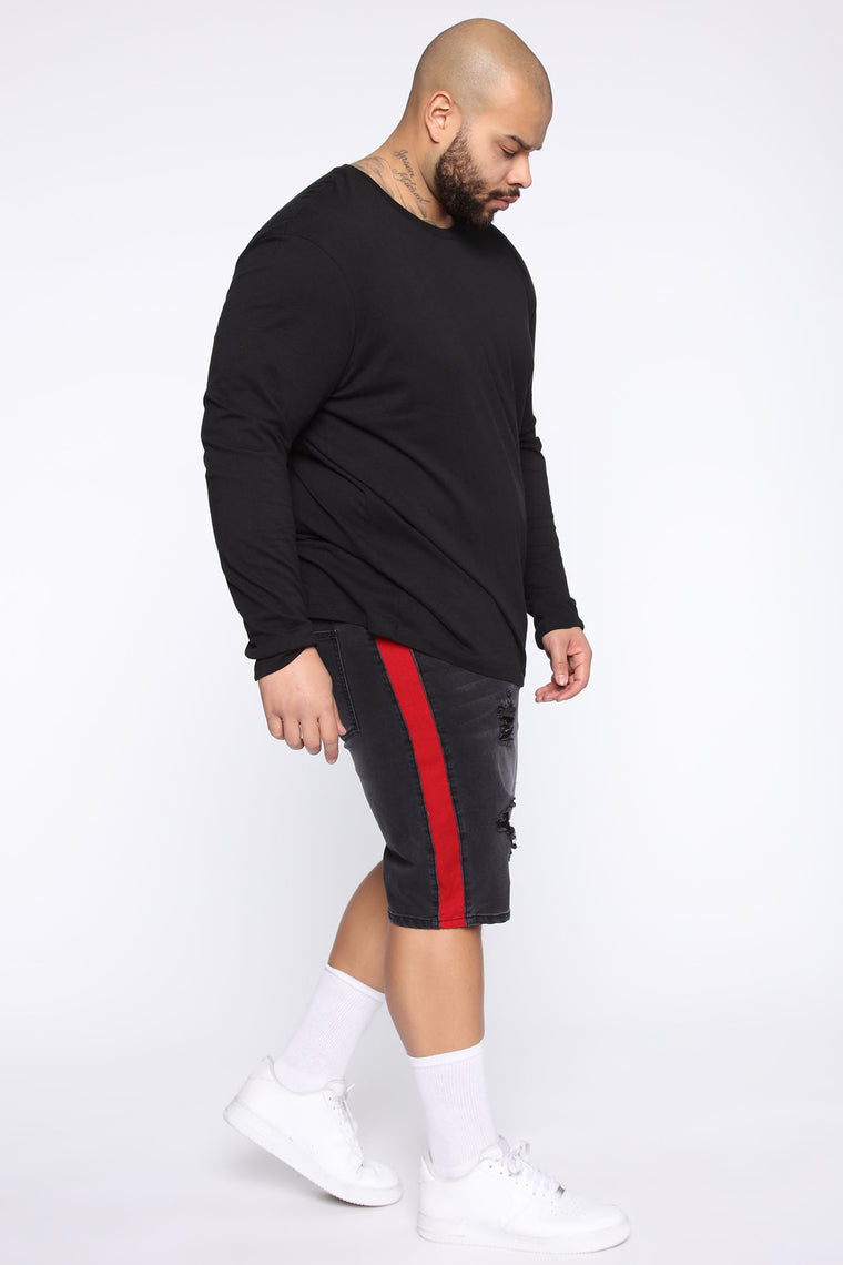 Teek Racing Stripe Denim Short - Black/Red