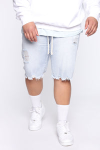 All Tied Up Distressed Short - Light Wash Angle 7