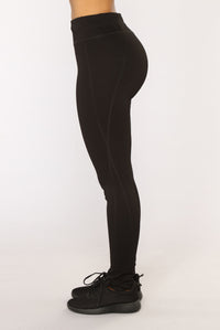Racquel High Rise Ponte Leggings - Black Angle 4