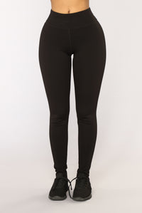 Racquel High Rise Ponte Leggings - Black Angle 2