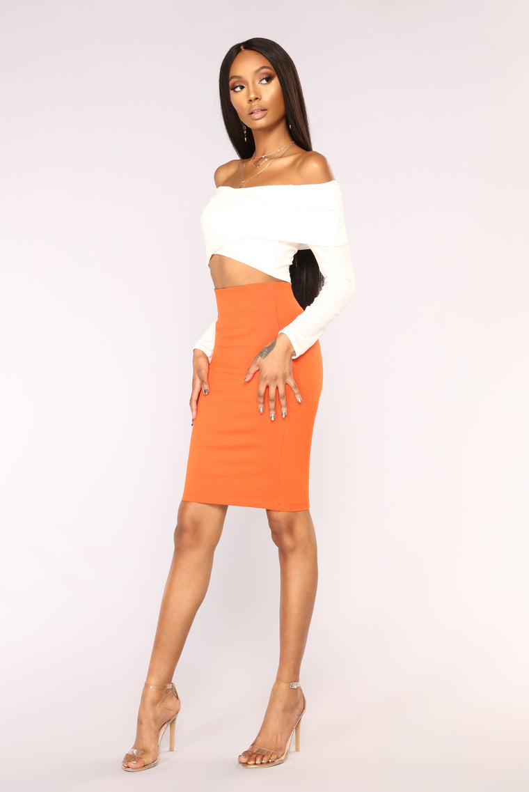 Classy Lady Ponte Skirt - Orange