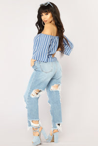 Edyth Off Shoulder Top - Blue/White