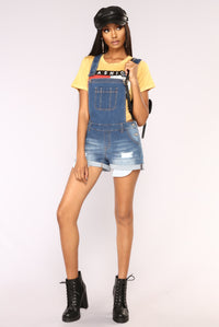 Not Your Basic Denim Shortalls - Medium Blue Wash