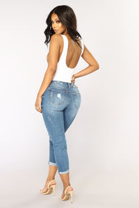 Roll 'Em Up Ankle Jeans - Medium Blue Wash
