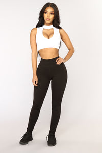 Racquel High Rise Ponte Leggings - Black Angle 1