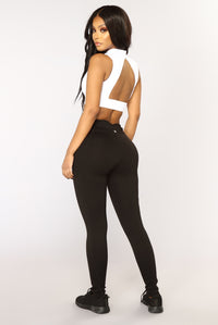 Racquel High Rise Ponte Leggings - Black Angle 5