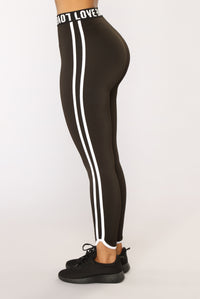 Love My Double Stripe Active Leggings - Black