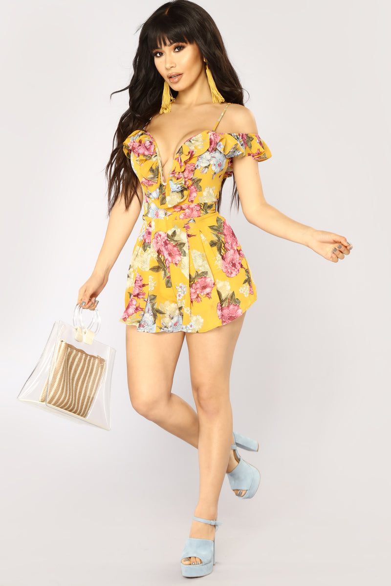 Paradise Floral Romper - Mustard