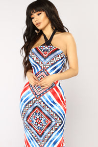 Seacliff Maxi Dress - Blue/Red
