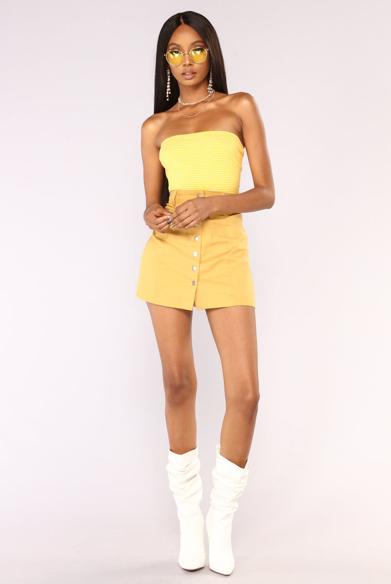 Rose Striped Tube Top - Yellow Combo