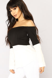 Work Or Play Off Shoulder Top - Black/White Angle 2
