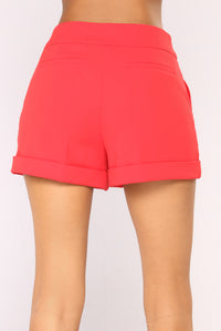 Rise To The Top Dressy Shorts - Red