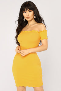 Hermoine Ribbed Dress - Mustard