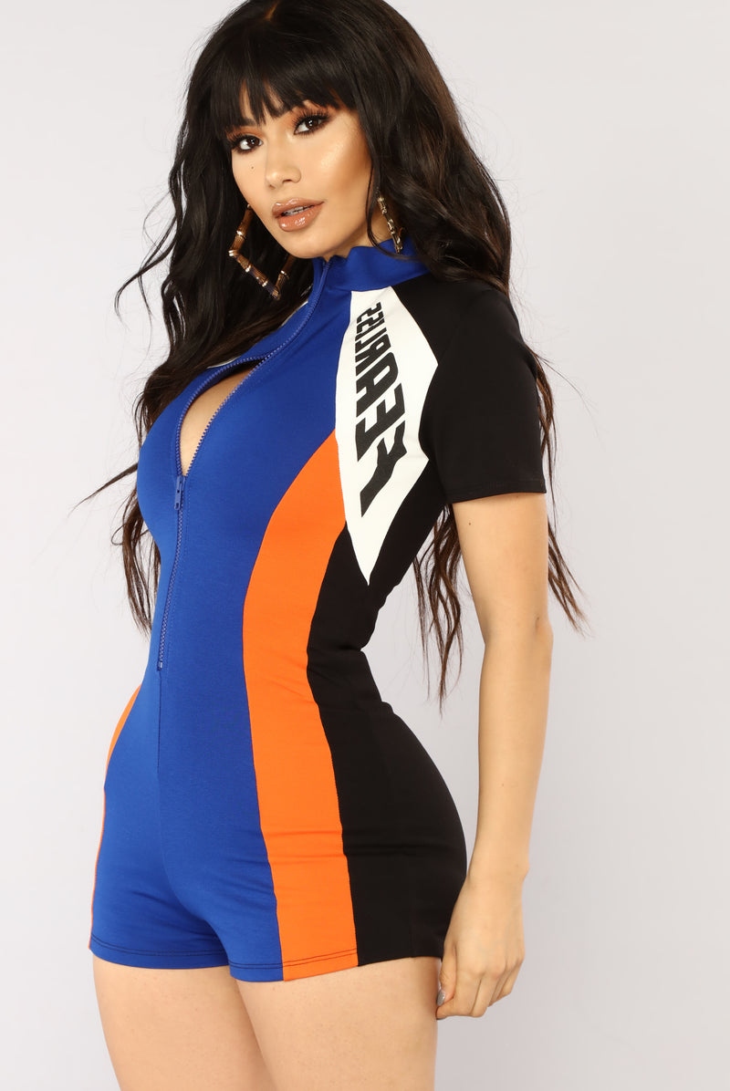 Fearless Colorblock Romper - Royal/Orange