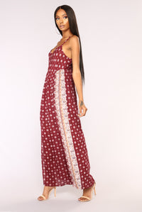 Wine Tasting Border Print Dress - Wine
