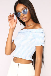 Kendra Smocked Top - Blue/White